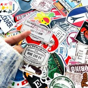 pack de 100 autocollants vintage