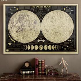 affiche vintage carte lunaire