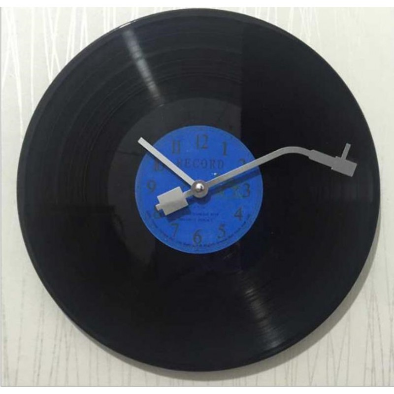 Horloge Murale Vinyle Bleu
