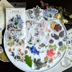 lot de 60 etiquettes papier fleurs
