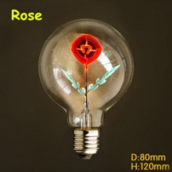Ampoule  filament led E27 40 W 220 V motif pétale de Rose
