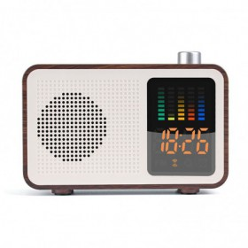 Radio Reveil Retro Bois Marron