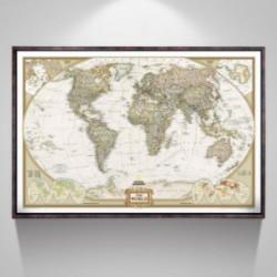 affiche carte du monde vintage