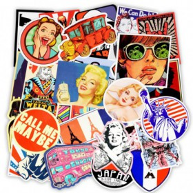 sticker lot de 50 retro